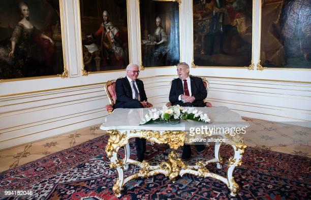 German President FrankWalter Steinmeier and the President of the Czech Republic Milo· Zeman meet in the Prague Castle in Prague Czech Republic...