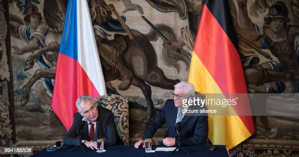 German President FrankWalter Steinmeier and the President of the Czech Republic Milo· Zeman speak during a press conference after their meeting in...
