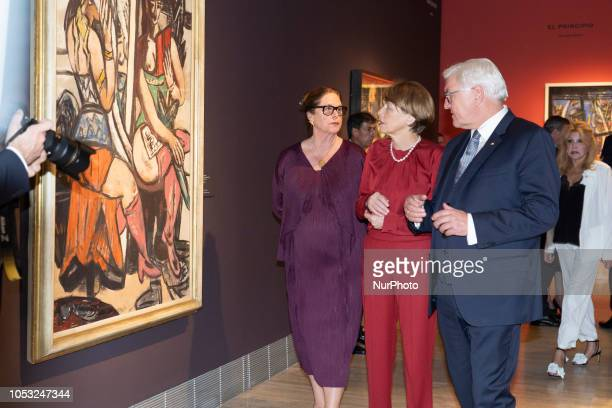 German President Frank-Walter Steinmeier and wife Elke Budenbender pose during the inauguration of the exhibition 'Beckmann. Figures of the exile' at...