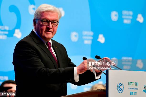 German President FrankWalter Steinmeier arrives to give speak during the opening session at the UN conference on climate change on November 15 2017...