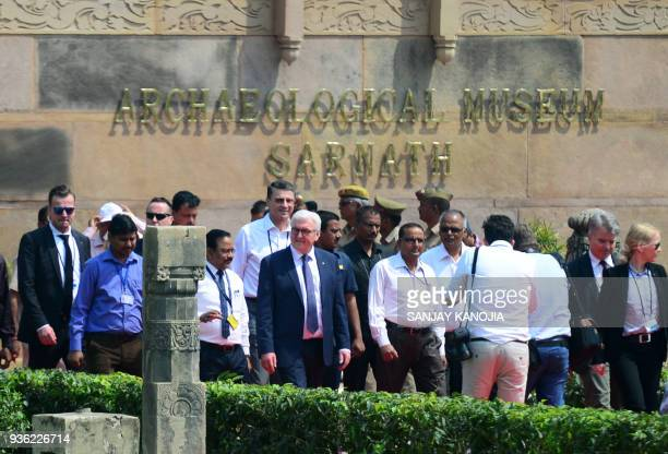 German President FrankWalter Steinmeier arrives to visit the archaeological museum at the Dhamekh Buddhist Stupa in Sarnath some 12km from Varanasi...