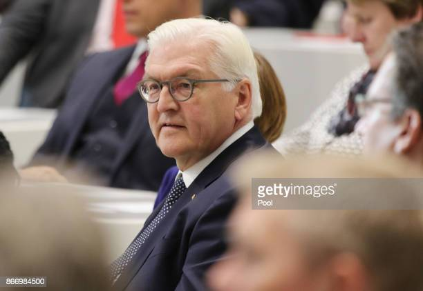 German President FrankWalter Steinmeier attends the inauguration of the State Parliament of Lower Saxony on October 27 2017 in Hanover northern...
