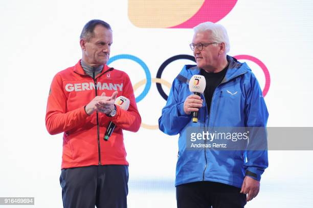 German President Frank-Walter Steinmeier chats with DOSB President Alfons Hoermann at the German House on day one of the PyeongChang 2018 Winter...