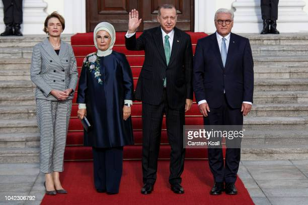 German President Frank-Walter Steinmeier, First Lady Elke Buedenbender, Turkish President Recep Tayyip Erdogan and First Lady Ermine Erdogan pose for...