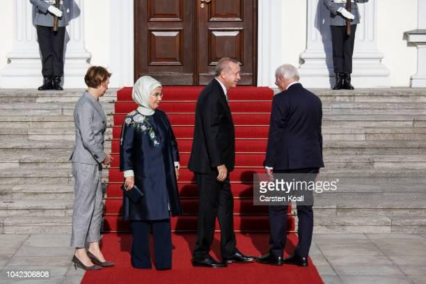 German President FrankWalter Steinmeier First Lady Elke Buedenbender Turkish President Recep Tayyip Erdogan and First Lady Ermine Erdogan pose for...