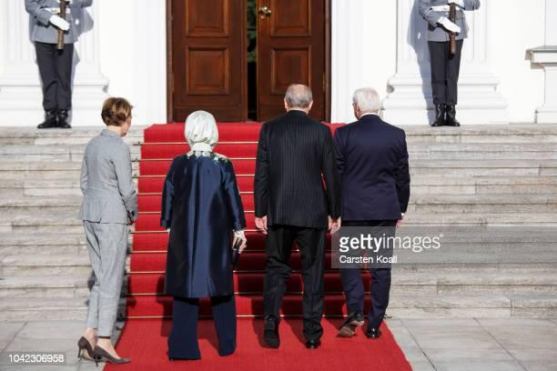 German President FrankWalter Steinmeier First Lady Elke Buedenbender Turkish President Recep Tayyip Erdogan and First Lady Ermine Erdogan following...