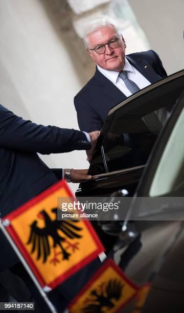 German President FrankWalter Steinmeier gets into a limousine after his talk with the Czech Republic Milo· Zeman at the Prague Castle in Prague Czech...