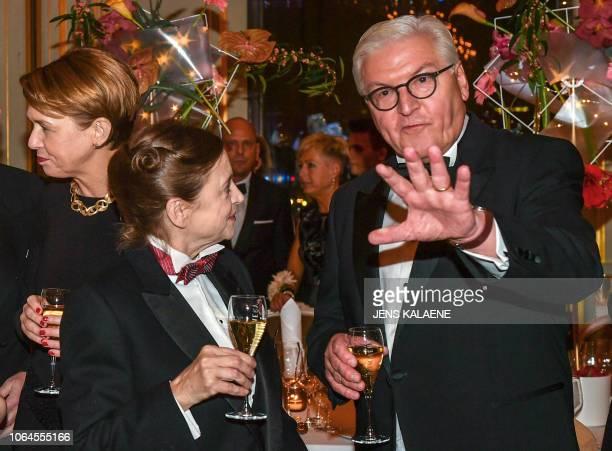 German President Frank-Walter Steinmeier , his wife Elke Buedenbender and German actress Katharina Thalbach take part in the Bundespresseball in...