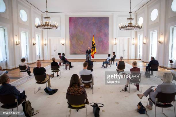 German President Frank-Walter Steinmeier holds a speech prior hosting a discussion on racism in Germany at Schloss Bellevue palace on June 16, 2020...