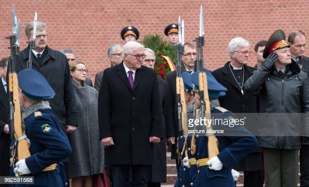 German President Frank-Walter Steinmeier inspects the ceremonial guard of honour during a wreath laying ceremony at the Tomb of the Unknown Soldier...