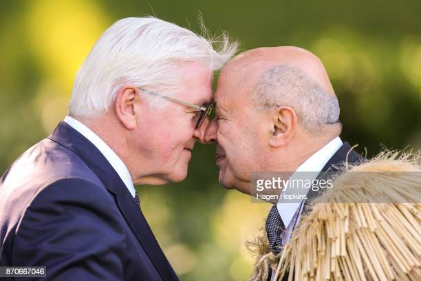 German President FrankWalter Steinmeier is greeted with a hongi by Kaumatua Dr Piri Sciascia during a State Ceremony of Welcome at Government House...