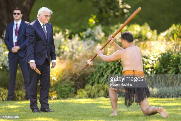 German President FrankWalter Steinmeier is greeted with a powhiri during a State Ceremony of Welcome at Government House on November 6 2017 in...