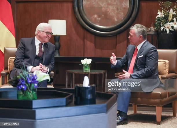 German president FrankWalter Steinmeier is received with by Jordan's King Abdullah II in Amaan Jordan 28 January 2018 His five day trip will see him...