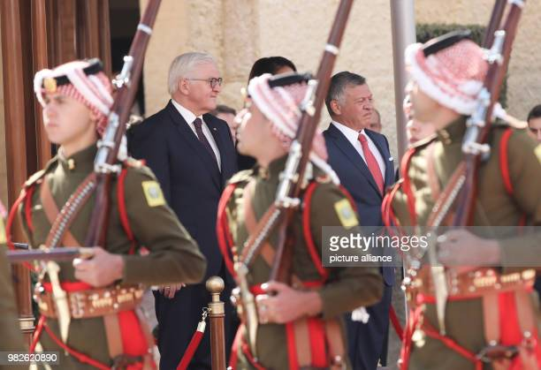 German president FrankWalter Steinmeier is received with military honors by King Abdullah II in Amaan Jordan 28 January 2018 His five day trip will...