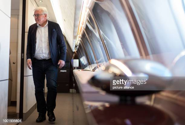 German President FrankWalter Steinmeier on the Bundeswehr Airbus A340 300 during the flight from Berlin to Astana in Kazakhstan 11 July 2017...