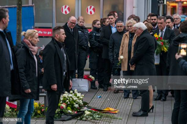 German President FrankWalter Steinmeier pays his respects to the victims near the Midnight shisha bar one of the sites of last night's shootings on...