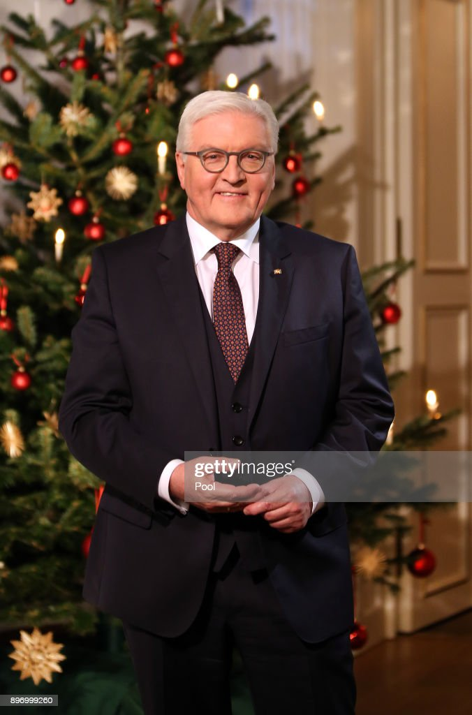 German President Frank-Walter Steinmeier poses for a photo after recording his annual Christmas television address to the nation on December 21, 2017 in Berlin, Germany.