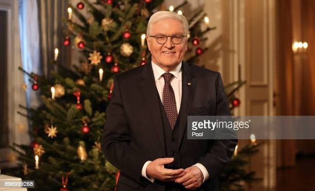 German President FrankWalter Steinmeier poses for a photo after recording his annual Christmas television address to the nation on December 21 2017...