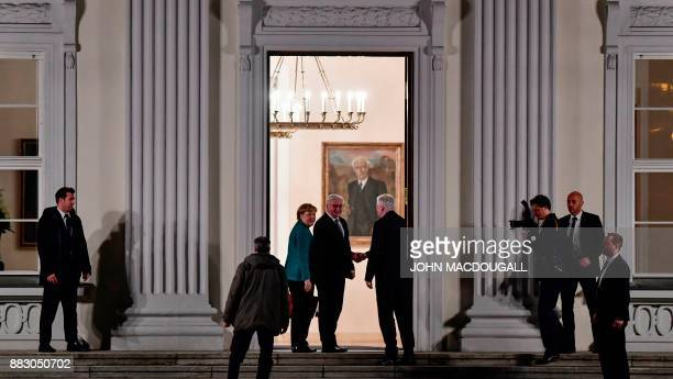 German President FrankWalter Steinmeier receives German Chancellor and leader of the Christian Democratic Union party Angela Merkel and Chairman of...