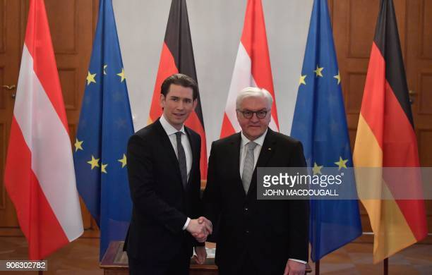 German President FrankWalter Steinmeier shakes hands with Austria's Chancellor Sebastian Kurz after he signed the President's guest book on January...