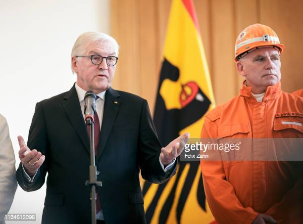 German President FrankWalter Steinmeier speaks as he receives a symbolic final chunk of coal by German Coal miners in a ceremony at Schloss Bellevue...