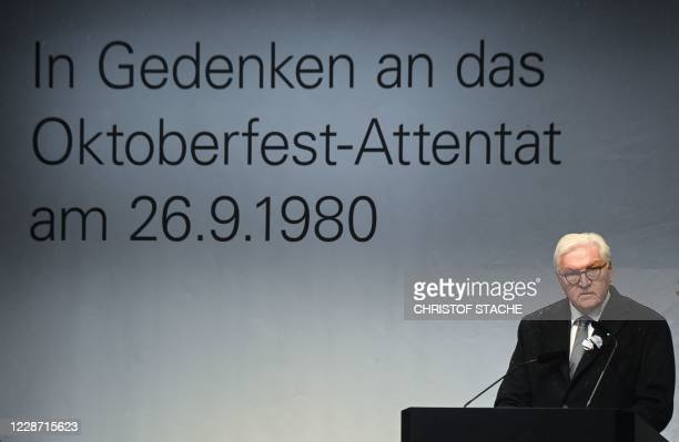 German President FrankWalter Steinmeier speaks at 40th anniversary memorial of the Oktoberfest attack on September 26 2020 The attacker Gundolf...