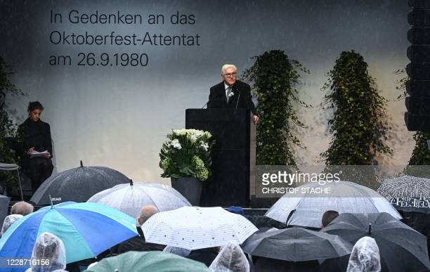 German President FrankWalter Steinmeier speaks at 40th anniversary memorial of the Oktoberfest attack in Munich on September 26 2020 The attacker...