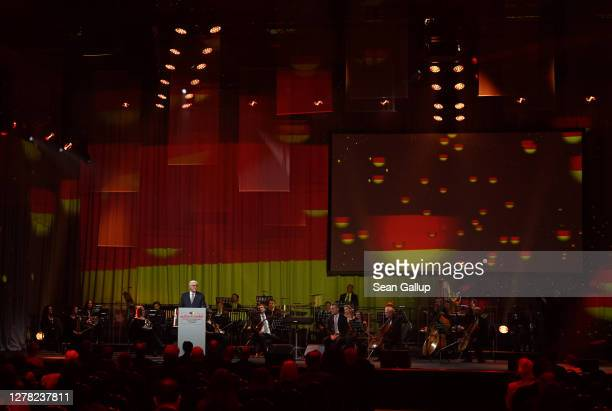 German President Frank-Walter Steinmeier speaks at the official commemoration event on the 30th anniversary of German reunification on October 03,...