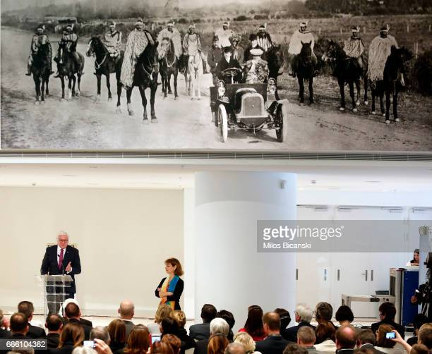 German President FrankWalter Steinmeier speaks at the opening of the exhibition Documenta 14 at the National Museum of Contemporary Art on April 08...