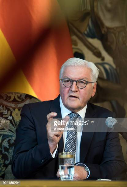 German President FrankWalter Steinmeier speaks during a press conference with the President of the Czech Republic Milo· Zeman after their meeting in...