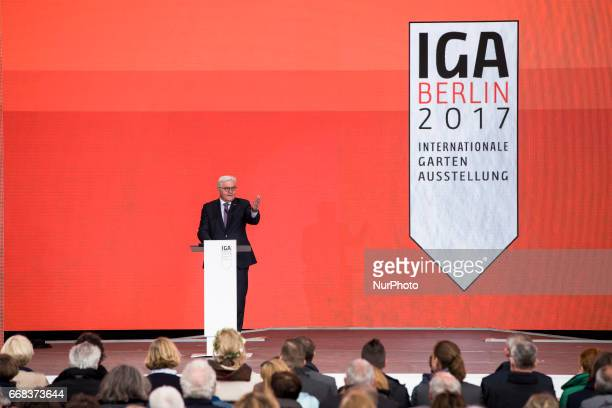 German President FrankWalter Steinmeier speaks during the opening ceremony of the IGA 2017 in Berlin Germany on April 13 2017 The exhibition will...
