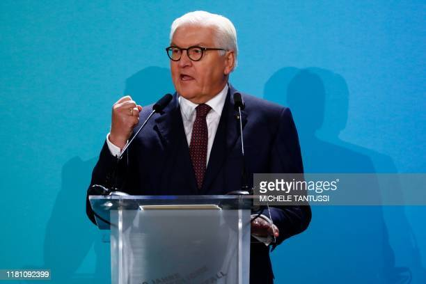 German President Frank-Walter Steinmeier speaks during the public show for the 30th anniversary of the fall of the Berlin Wall, on November 9, 2019...