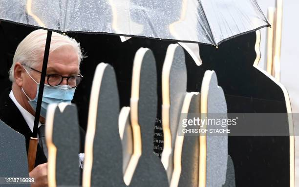 German President FrankWalter Steinmeier visits the documentation exhibition during the 40th anniversary memorial event of the Oktoberfest attack in...