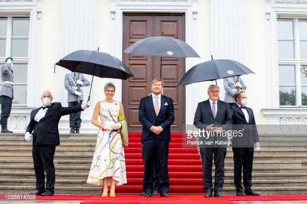 German President Frank-Walter Steinmeier welcomes King Willem-Alexander of The Netherlands and Queen Maxima of the Netherlands at Castle Bellevue on...