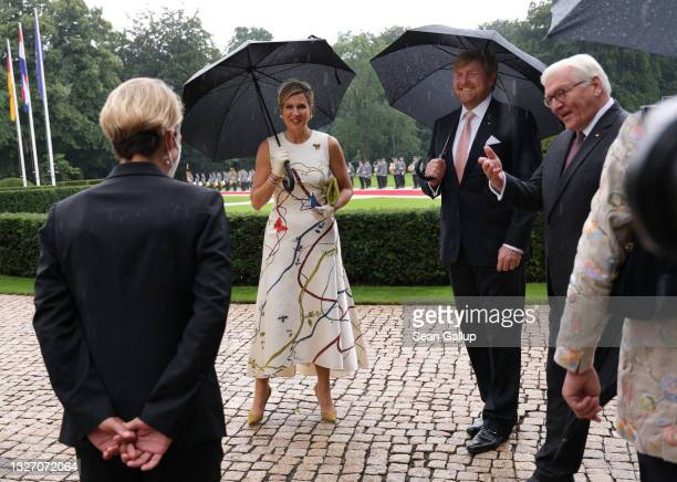 German President Frank-Walter Steinmeier welcomes King Willem-Alexander and Queen Maxima of the Netherlands at Castle Bellevue on July 05, 2021 in...