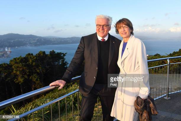 German President FrankWalter Steinmeier with his wife Elke Budenbender pose at the lookout on the top of Mt Victoria on November 5 2017 in Wellington...