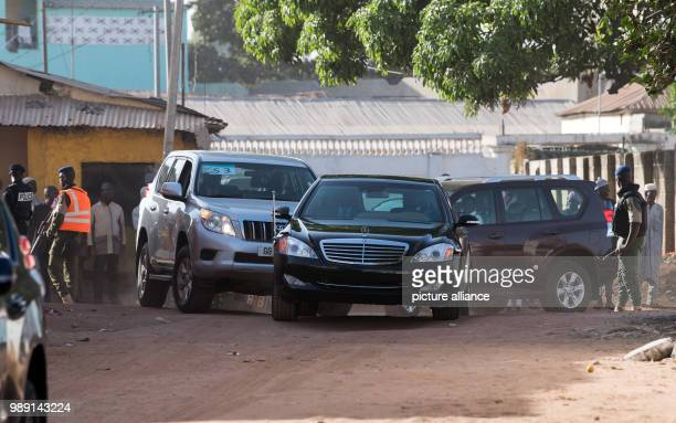 German President Frank-Walter Steinmeier's convoy drives to the hospital of the Worker's Samaritan Organization in Dippakunda near Banjul, Gambia, 14...