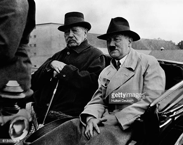 German president Hindenburg with Adolf Hitler the year he appointed him as Hitler to the position of chancellor | Location Noldeck Germany
