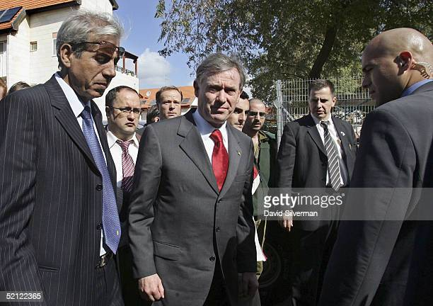German President Horst Koehler accompanies local mayor Eli Moyal visits the scene of a fatal Palestinian Qassam rocket attack next to a Jewish...