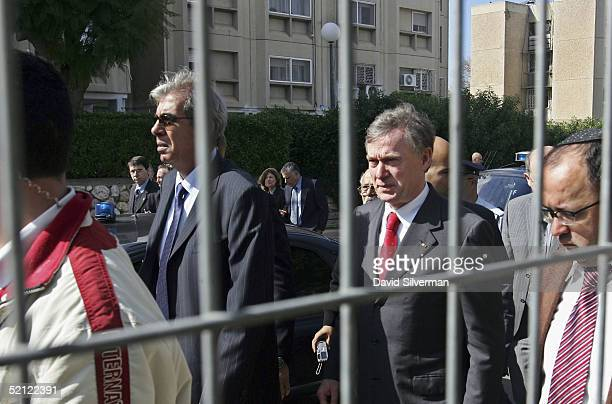 German President Horst Koehler accompanies local mayor Eli Moyal to the scene of a fatal Palestinian Qassam rocket attack next to a Jewish...