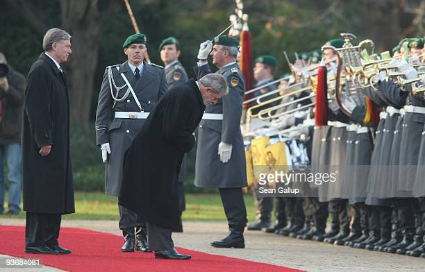 German President Horst Koehler and Brazilian President Luiz Inacio Lula da Silva review a guard of honour upon da Silva's arrival at Bellevue Palace...
