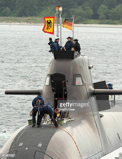 German president Horst Koehler and his wife Eva Louise visit the german submarin U33 on July 16 2008 in Eckernfoerde near Kiel at the baltic sea...