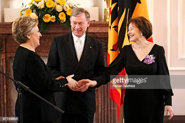 German President Horst Koehler and his wife Eva Luise Koehler and actress Marie-Luise Marjan pose for a picture after she received the Federal Cross...