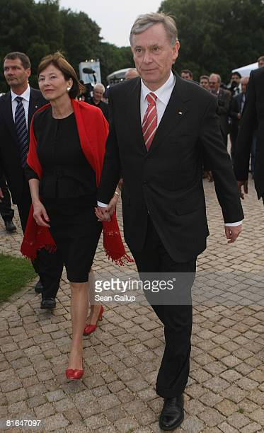 German President Horst Koehler and his wife Eva Luise Koehler attend the annual summer party hosted by Koehler at Schloss Bellevue Palace on June 20...