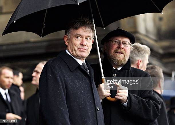 German President Horst Koehler and Wolfgang Thierse look on during the funeral for former German President Johannes Rau at the Dom Cathedral on...