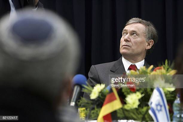 German President Horst Koehler listens to Mayor Eli Moyal talk about acheiving peace with the Palestinians in the Gaza Strip on February 2 2005 in...