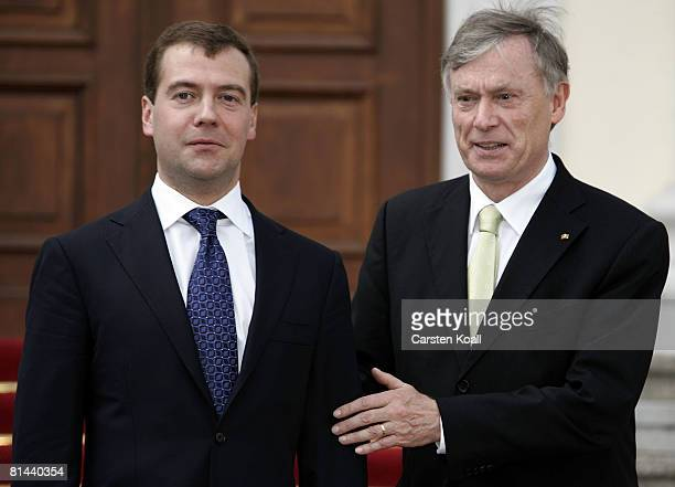 German President Horst Koehler welcomes Russian President Dmitry Medvedev upon his arrival at Bellevue Palace on June 5 2008 in Berlin Germany The...