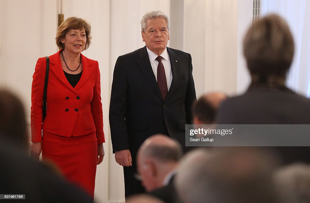 German President Joachim Gauck, accompanied by First Lady Daniela Schadt, arrives to give a speech to mark the end of his term as president at Schloss Bellevue palace on January 18, 2017 in Berlin, Germany. Gauck, a former pastor, chose not to serve a second term. The Federal Assembly will elect his successor on February 12.