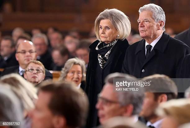 German President Joachim Gauck and Alexandra Freifrau von Berlichingen widow of late German President Roman Herzog attend the state funeral of Roman...