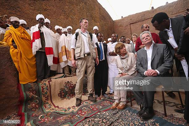 German President Joachim Gauck and First Lady Daniela Schadt arrive to observe Ethiopian Orthodox clergy perform a ritual celebrating the Virgin Mary...